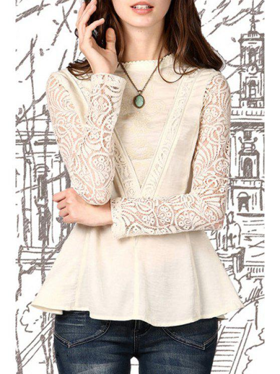 buy Lace Mesh Embroidered Peplum Top - OFF-WHITE S