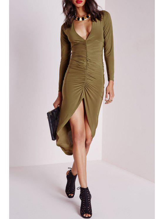 buy Ruched High Low V Neck Long Sleeve Dress - ARMY GREEN S