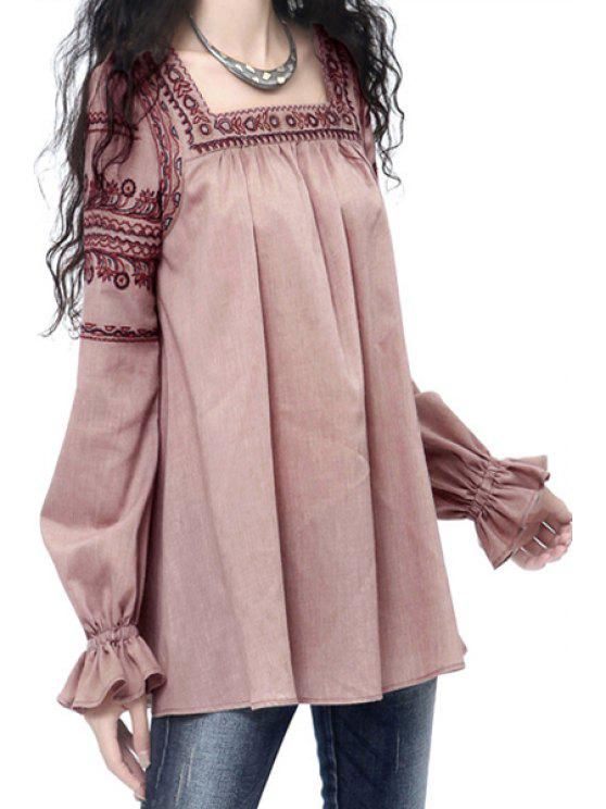 online Square Neck Embroidered Fall Top - PINK L
