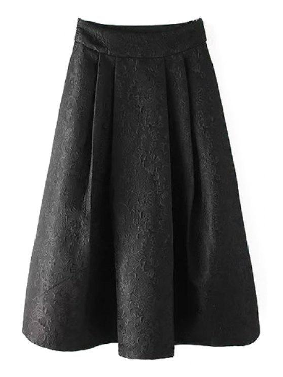 Falda de color sólido jacquard de alta cintura de vestido de bola - Negro M
