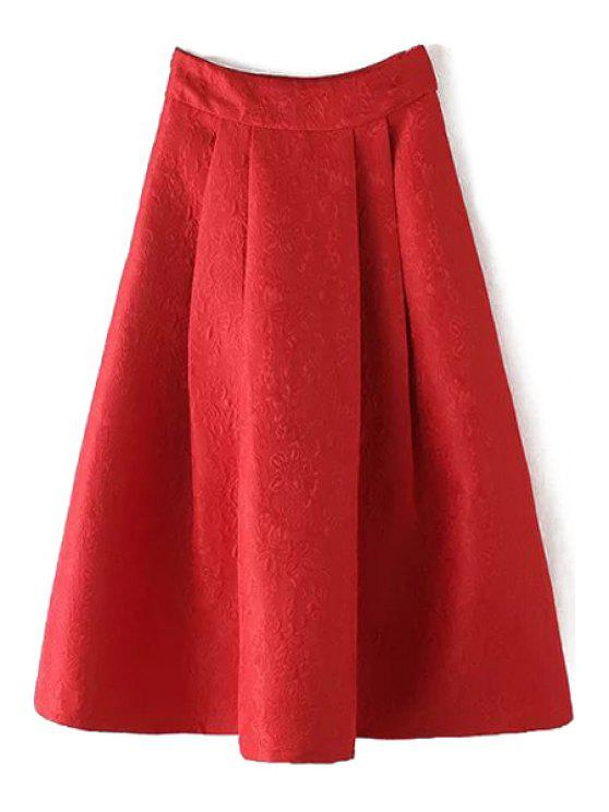 hot Ball Gown High Waisted Jacquard Solid Color Skirt - RED M