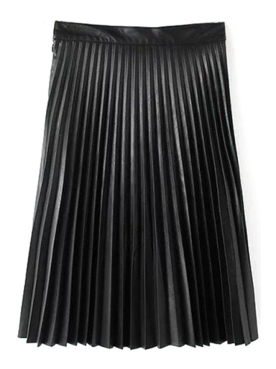 trendy PU Leather High Waisted Solid Color Pleated Skirt - BLACK S