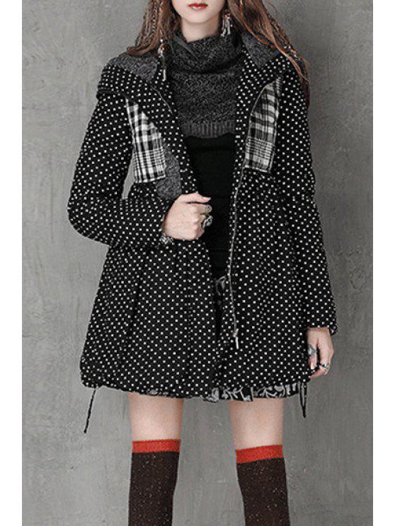 sale Hooded Polka Dot High-Waisted Parka Coat - BLACK S