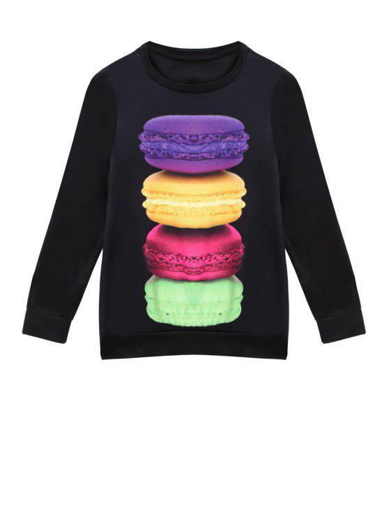 womens Macaron Print Long Sleeve Sweatshirt - BLACK S