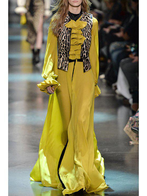 best Ruffled Collar Long Sleeves Waisted Maxi Dress - YELLOW S