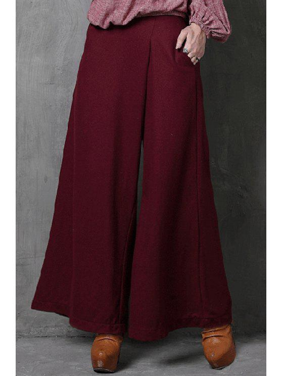 outfit Wide Leg Pocket Wine Red Pants - WINE RED S