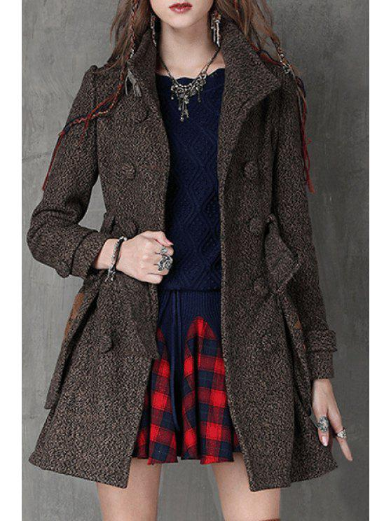 outfit Double-Breasted Big Pockets Belted Coat - COFFEE L