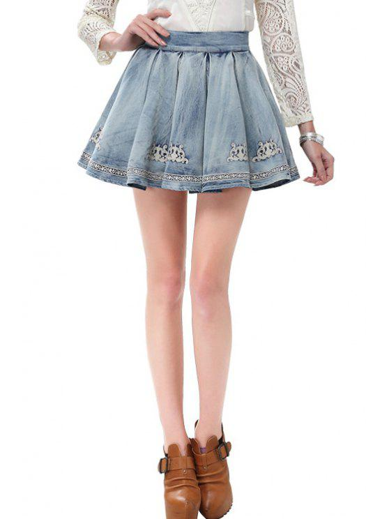 outfits Embroidered Ruffled Denim Skirt - BLUE S