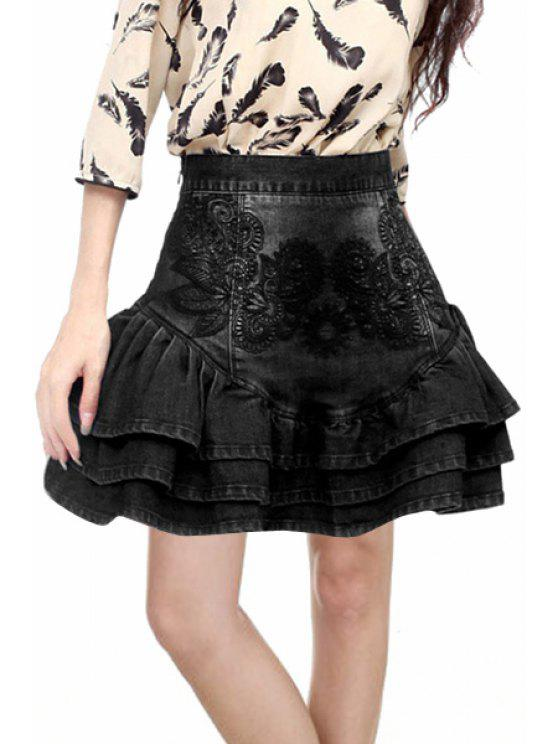 trendy Embroidered Flouncing Mini Skirt - BLACK M