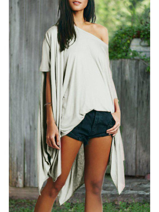 fancy Asymmetric Batwing Sleeves Loose Fitting Solid Color Dress - WHITE ONE SIZE(FIT SIZE XS TO M)