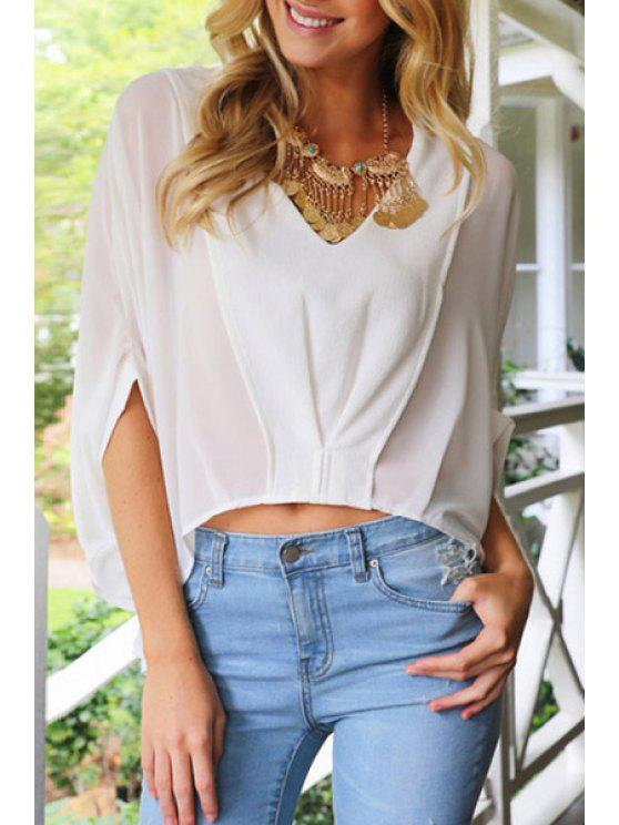 hot Solid Color V-Neck Batwing Sleeves Loose Fitting Blouse - WHITE S