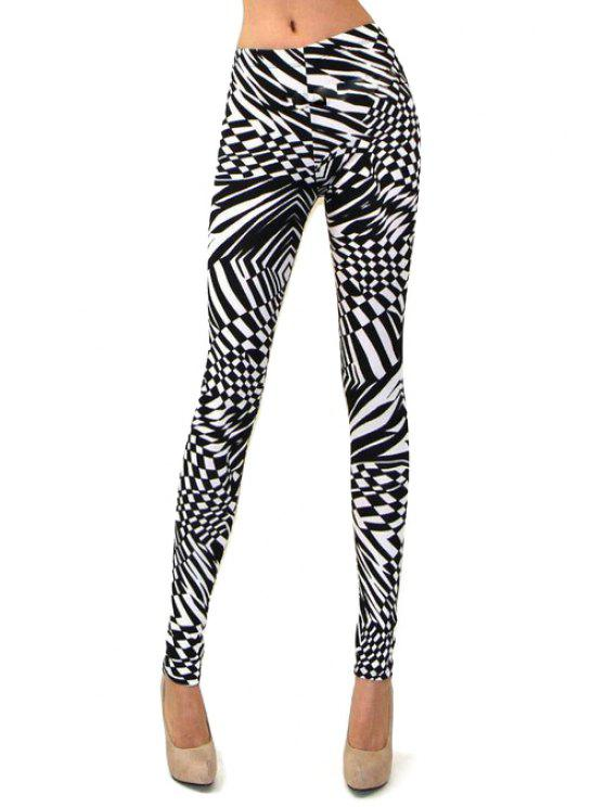 outfit Abstract Print Skinny High Elasticity Pants - WHITE AND BLACK S