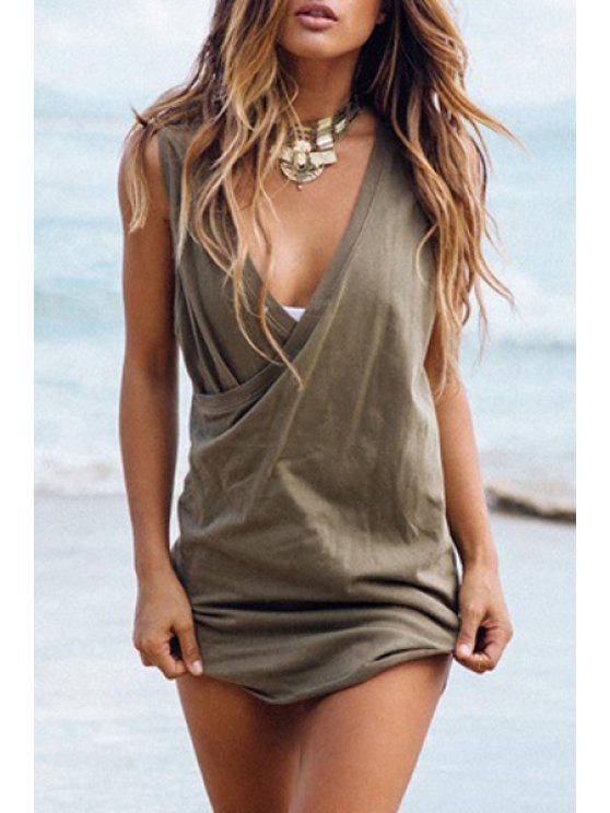 affordable Solid Color Plunging Neck Sleeveless Asymmetric Dress - ARMY GREEN XS