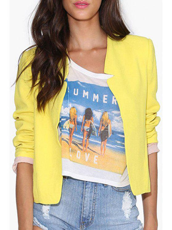 women's Candy-Colored Notched Blazer - YELLOW XS