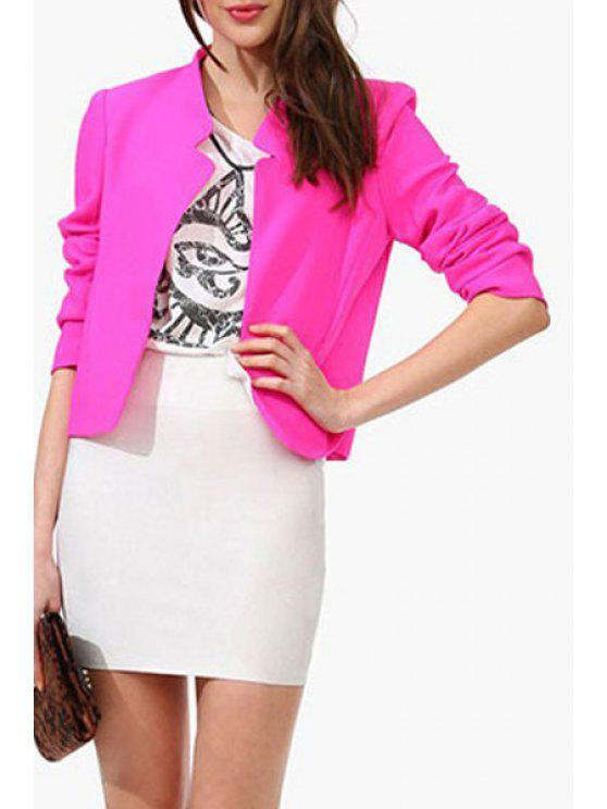 chic Candy-Colored Notched Blazer - ROSE 2XL