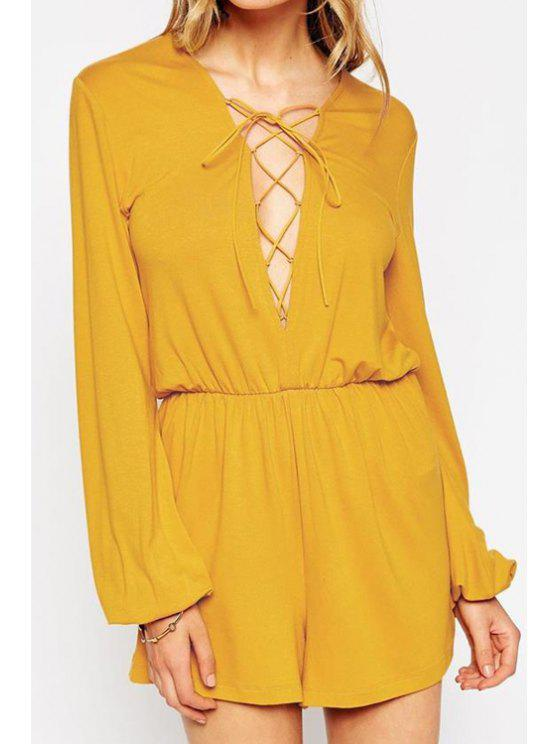 4656ac3bee2 31% OFF  2019 Solid Color Plunging Neck Long Sleeves Lace Up Romper ...