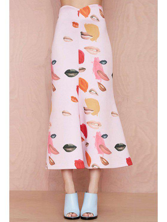 sale Lip Print A-Line Long Skirt - PINK XS