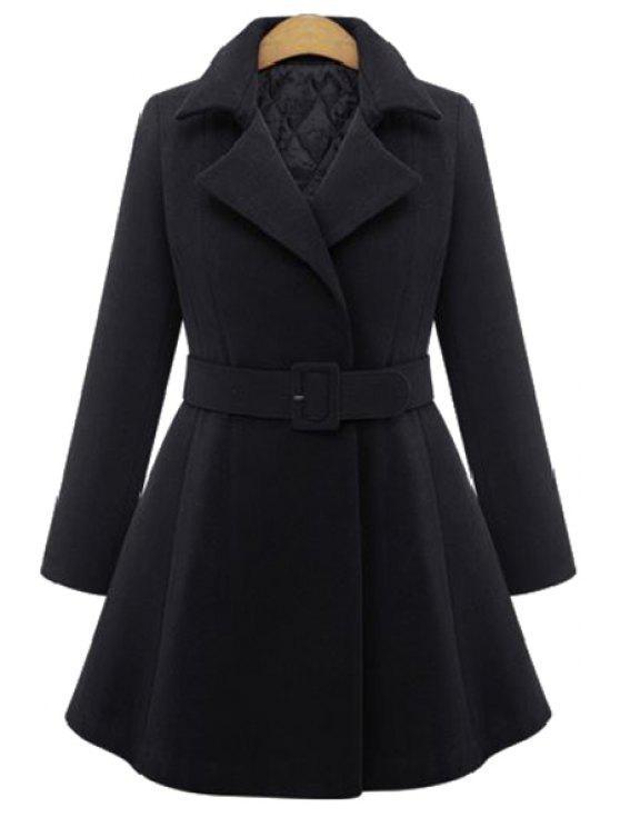 outfits Pure Color Lapel Long Sleeve A Line Coat - BLACK XL