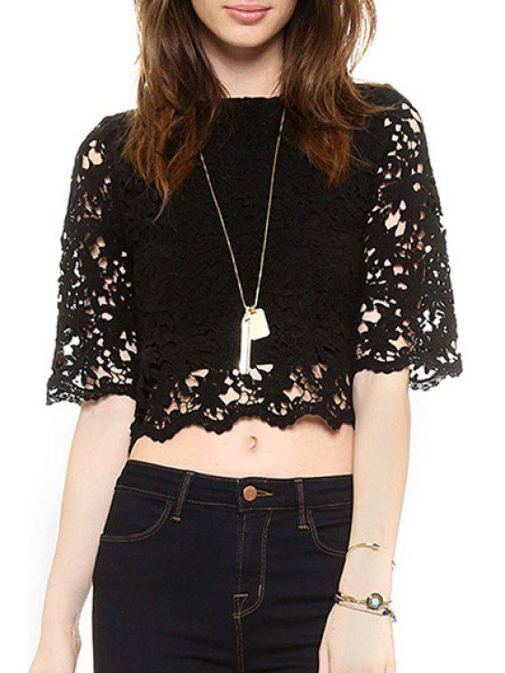 shops Openwork Lace Hook Crop Top - BLACK XS