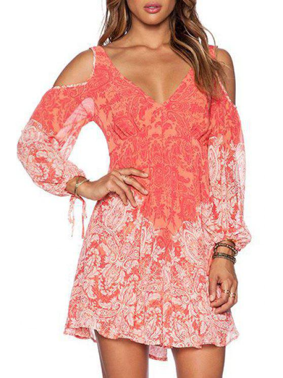 sale Printed Plunging Neck Long Sleeves Cut Out Dress - ORANGE S