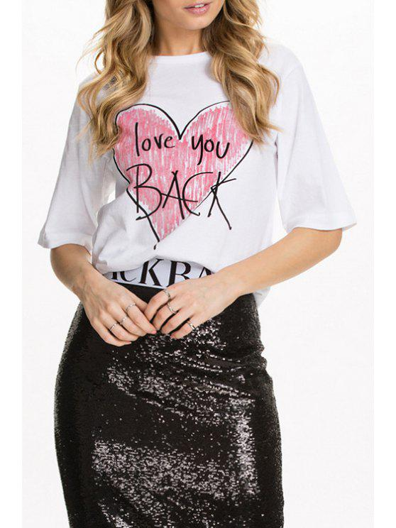 shop Half Sleeve Heart Print T-Shirt - WHITE XS