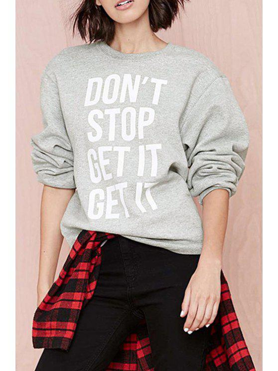 buy Letter Print Round Collar Long Sleeves Casual Sweatshirt - GRAY XS