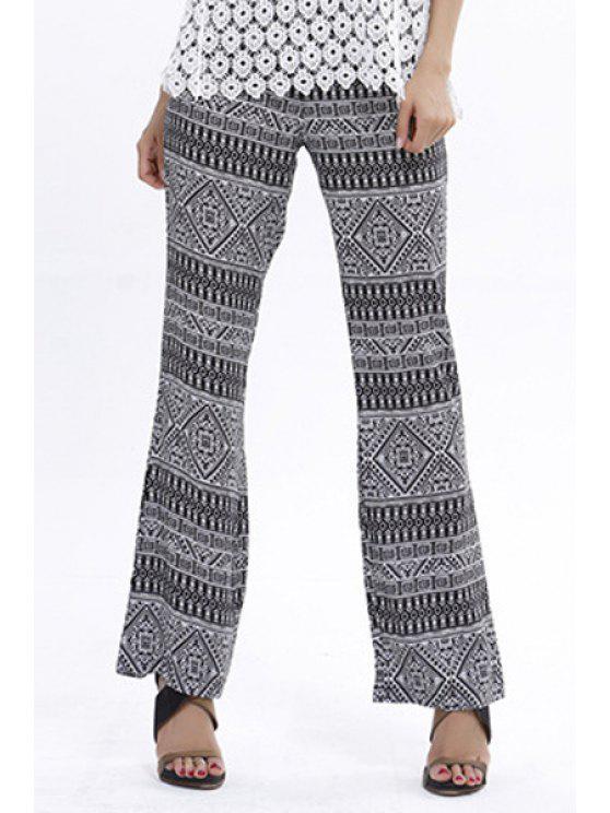 latest Tribal Print Straight Leg Pants - WHITE AND BLACK S