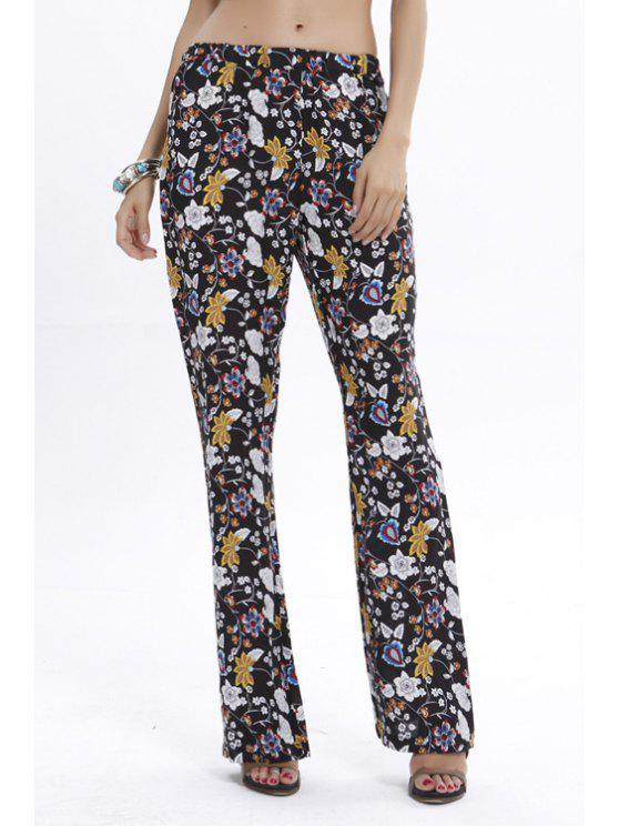 fashion Floral Print Elastic Waist Flare Pants - COLORMIX S