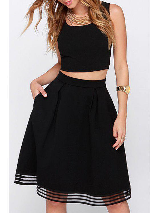 women Voile Spliced High Waisted Solid Color Skirt - BLACK XS