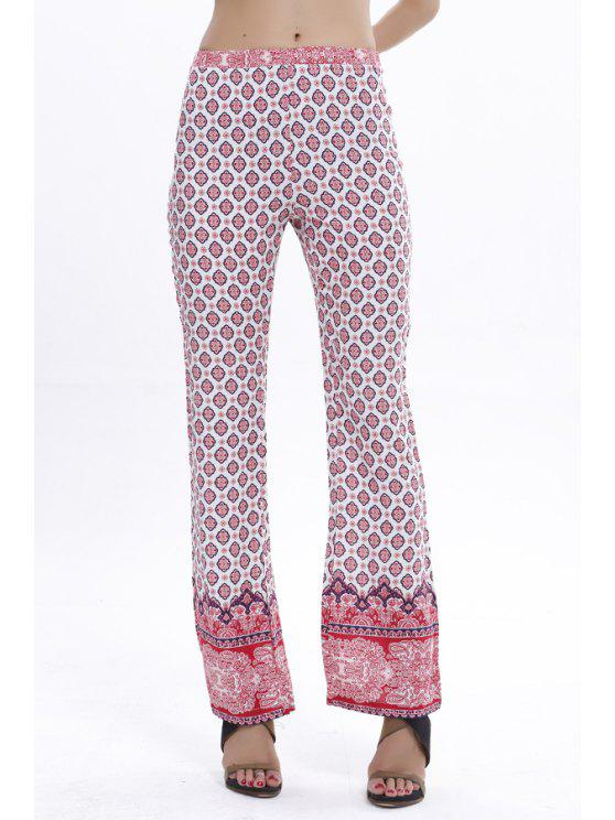 buy Red Ethnic Print Flare Pants - RED WITH WHITE S