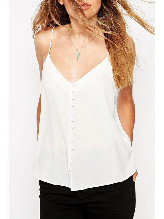 shop Solid Color Button Embellished Spaghetti Strap Tank Top - WHITE XS