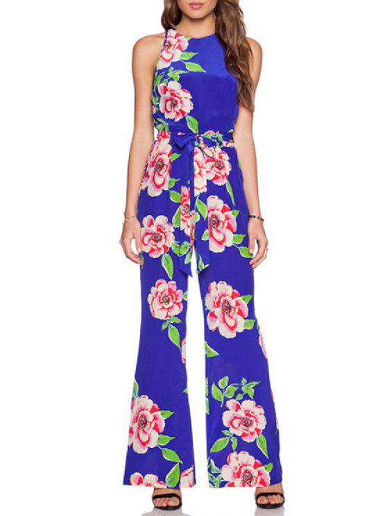 sale Large Floral Wide Leg Jumpsuit - BLUE S