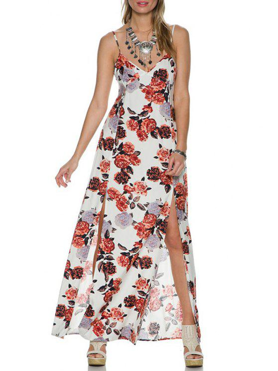 best Lace Spliced Plunging Neck Floral Print Spaghetti Strap Dress - WHITE XS