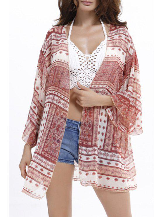 best Red Ethnic Print Long Sleeve Blouse - PINK ONE SIZE(FIT SIZE XS TO M)