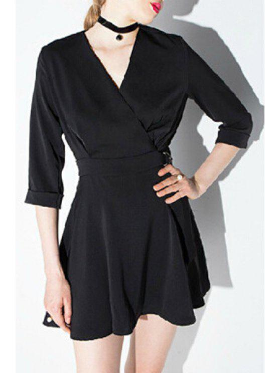 lady Cross-Over Collar 3/4 Sleeve Dress - BLACK S