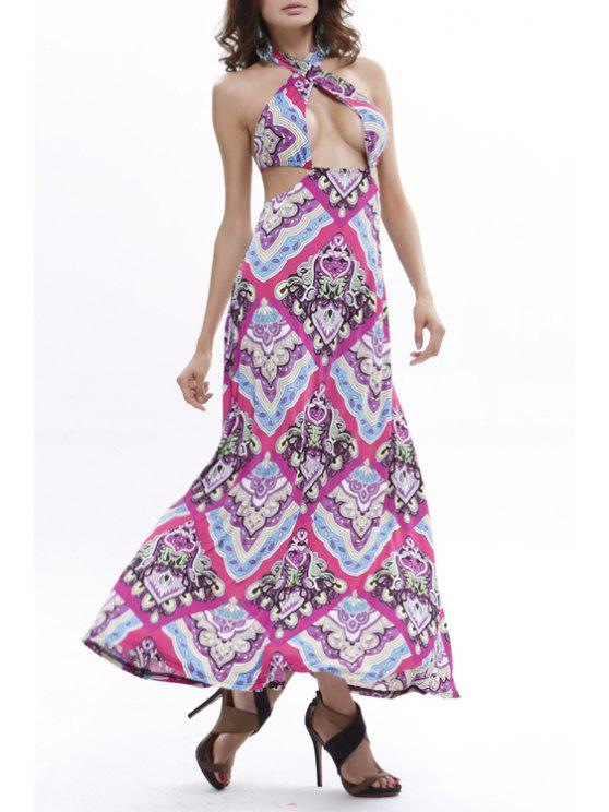 chic Vintage Print Halter Maxi Dress - PURPLE ONE SIZE(FIT SIZE XS TO M)