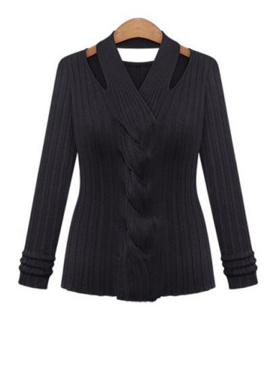 best Cable Knit Hollow Out Knitwear - BLACK ONE SIZE(FIT SIZE XS TO M)