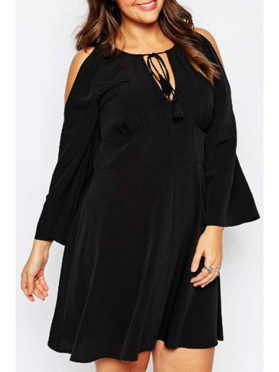 fancy Bell Sleeve Lace-Up Plus Size Dress - BLACK XL