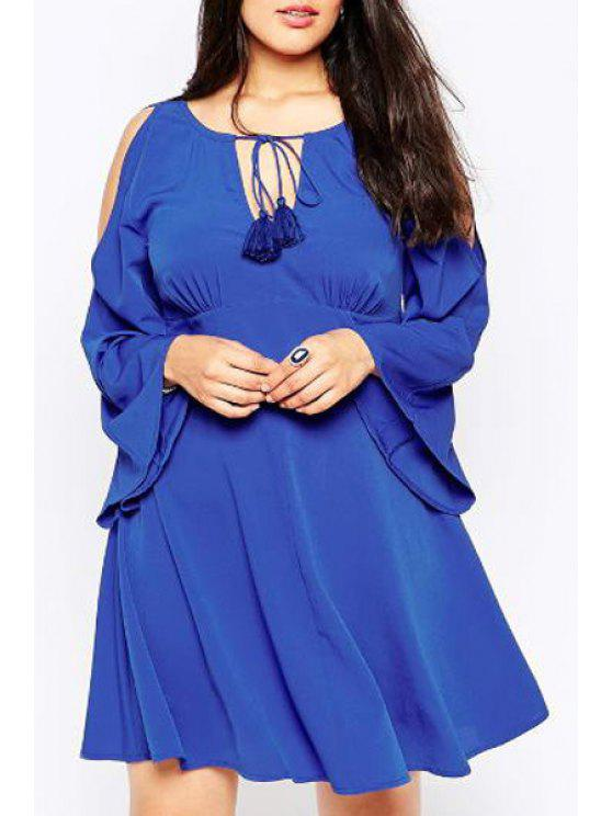 chic Bell Sleeve Lace-Up Plus Size Dress - BLUE 3XL