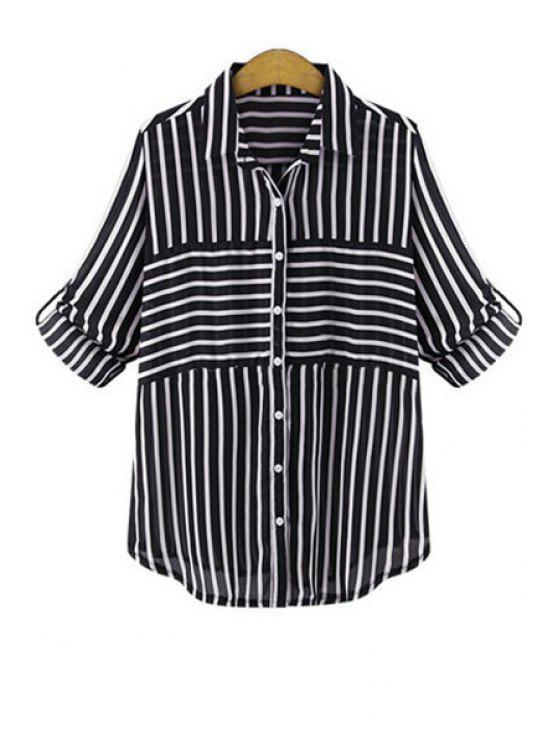 best Polo Collar Striped Single-Breasted Shirt - BLACK S