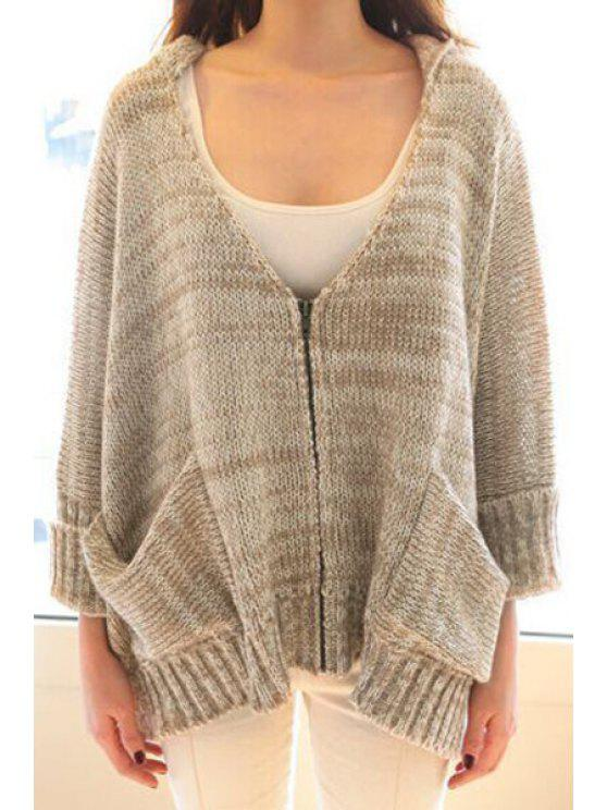 latest Batwing Sleeves Hooded Loose Fitting Zipper Cardigan - LIGHT KHAKI ONE SIZE(FIT SIZE XS TO M)