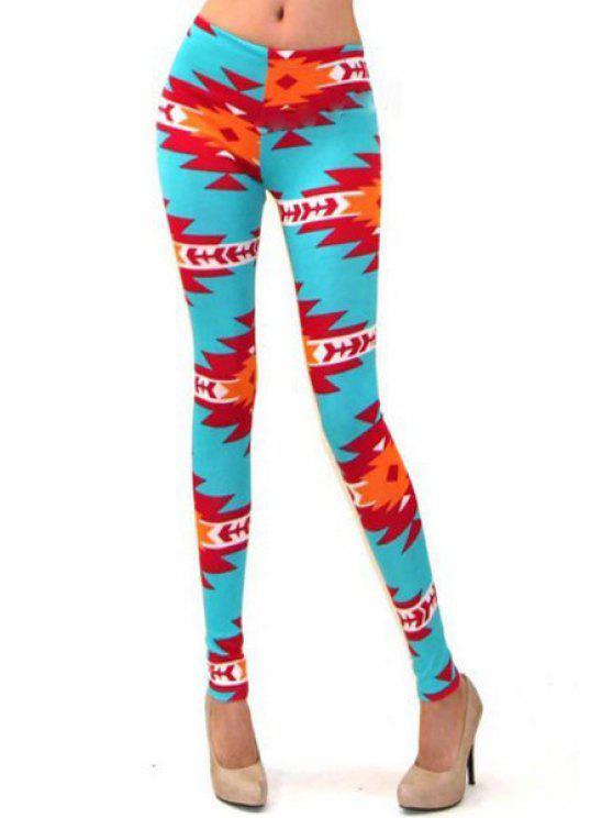 women Geometric Print Skinny Leggings - COLORMIX S