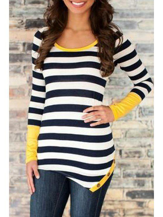 best Scoop Neck Striped Irregular Hem T-Shirt - BLACK XL