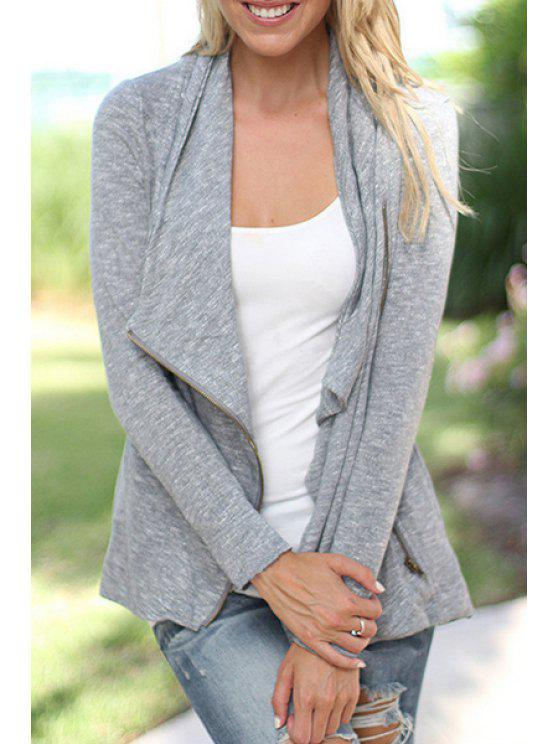 shop Long Sleeve Zip-Up Gray Jacket - GRAY S