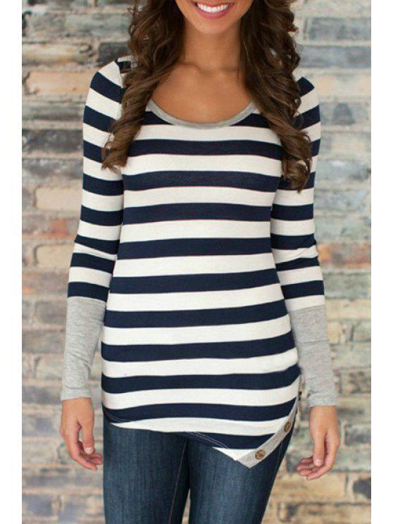 new Long Sleeve Striped Irregular Hem T-Shirt - BLACK S