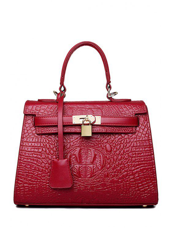 new Crocodile Print Solid Color Pendant Tote Bag - RED
