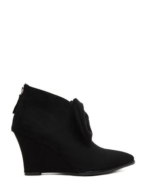 best Bowknot Suede Wedge Heel Ankle Boots - BLACK 37