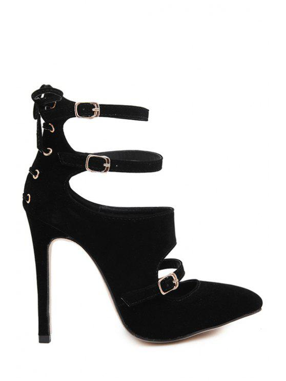 womens Buckles Suede Hollow Out Pumps - BLACK 35