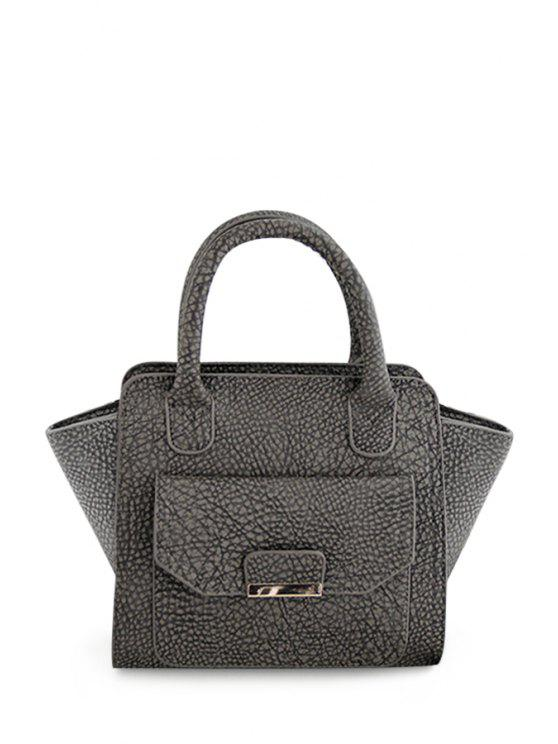 unique Embossing PU Leather Metal Tote Bag - GRAY