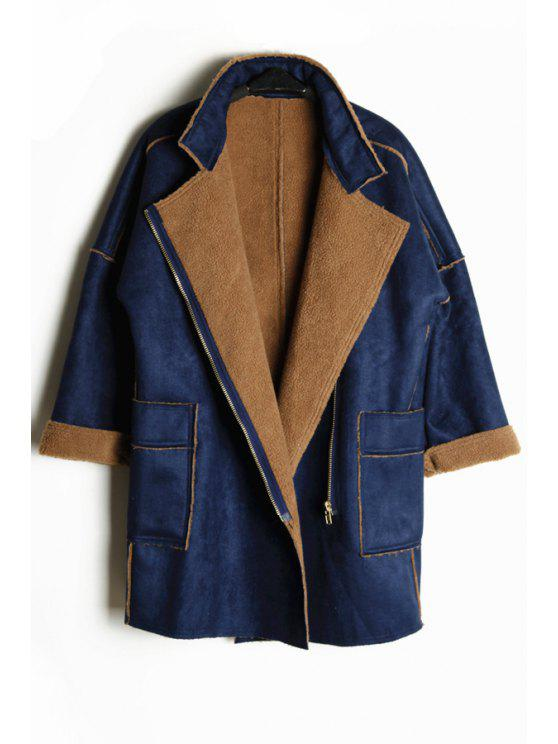 trendy Fleece Turn-Down Collar Long Sleeves Loose-Fitting Coat - BLUE ONE SIZE(FIT SIZE XS TO M)